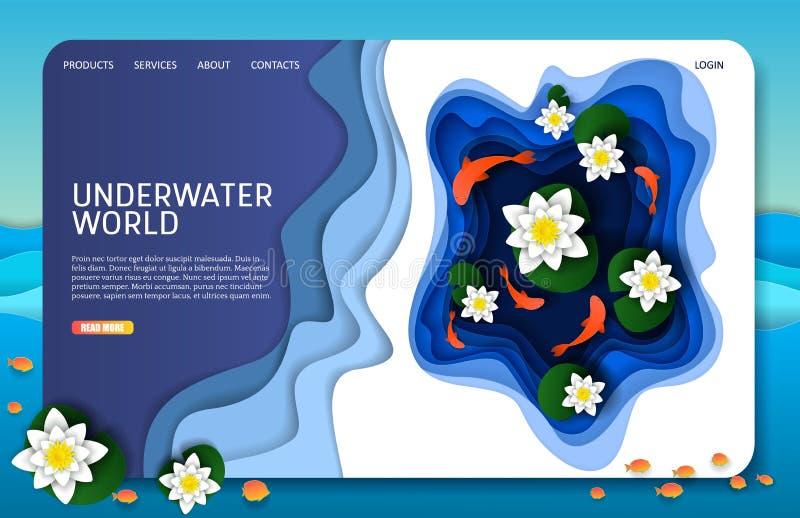Бумага вектора отрезала подводный шаблон вебсайта страницы посадки мира иллюстрация вектора