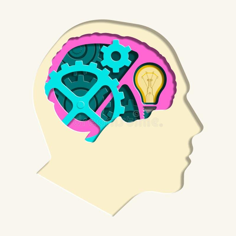 Бумага головы Man's головы шестерни отрезала вне векторную графику иллюстрация штока