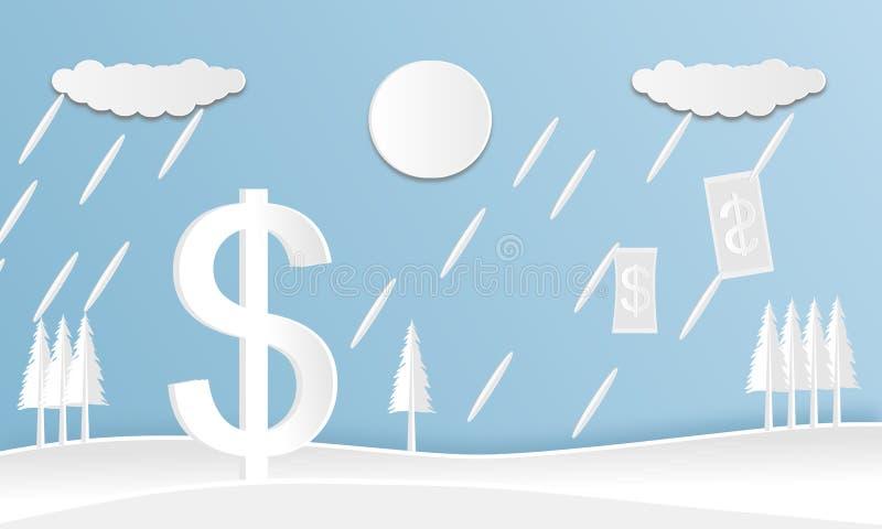 Бумага дизайна вектора отрезала плоско белое для валюты доллара с ландшафтом на голубой предпосылке иллюстрация штока