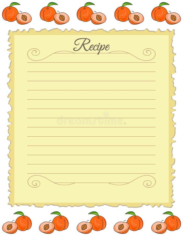 Бумага для рецептов Форма для рецептов Бумага примечания с орнаментом персика r иллюстрация штока