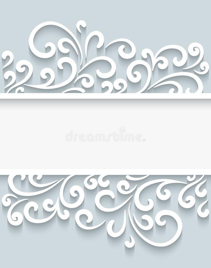 Бумага завихряется рамка иллюстрация вектора