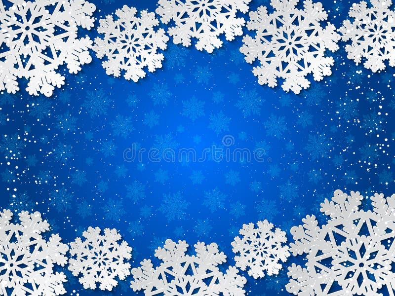 Бумага зимы вектора голубая отрезала вне предпосылку с украшением снежинки иллюстрация вектора