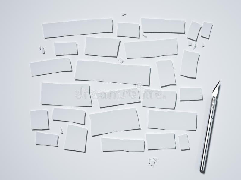 Бумага и скальпель Cutted на белой предпосылке перевод 3d иллюстрация штока