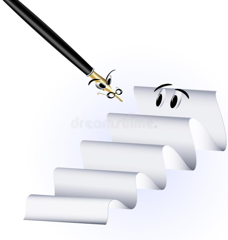 Бумага и шальная ручка бесплатная иллюстрация