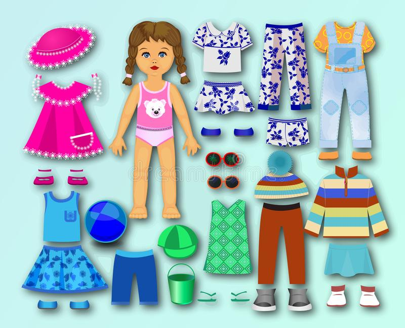 Бумага, кукла картона с одеждами для детей стоковые изображения