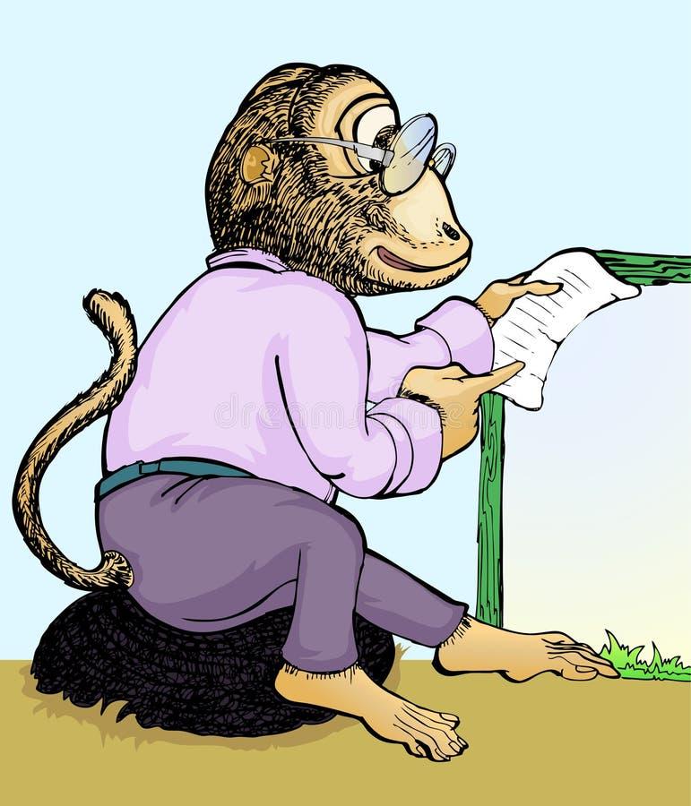 бумага обезьяны удерживания иллюстрация вектора