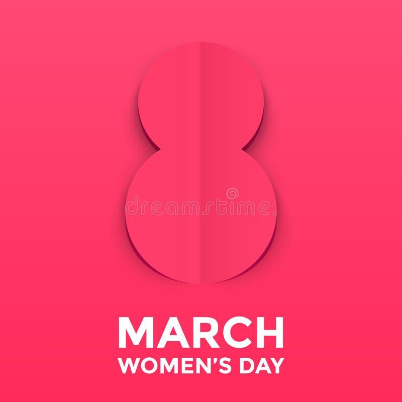 Бумага 8-ое марта отрезала вне иллюстрацию для международной карточки дня ` s женщин Papercut origami дня счастливых женщин бесплатная иллюстрация