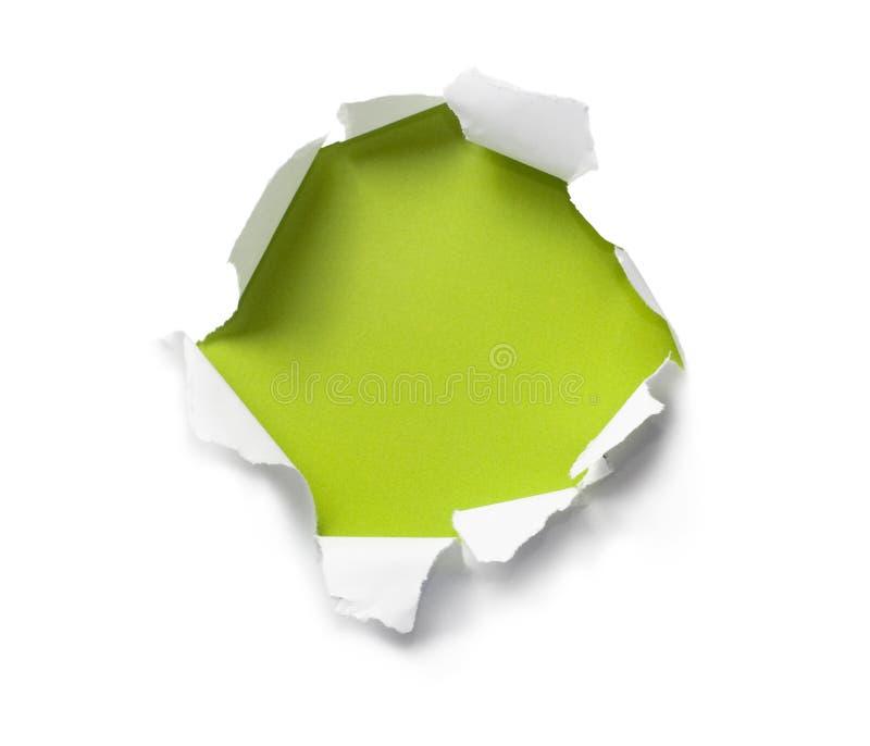 бумага отверстия прорыва стоковое изображение