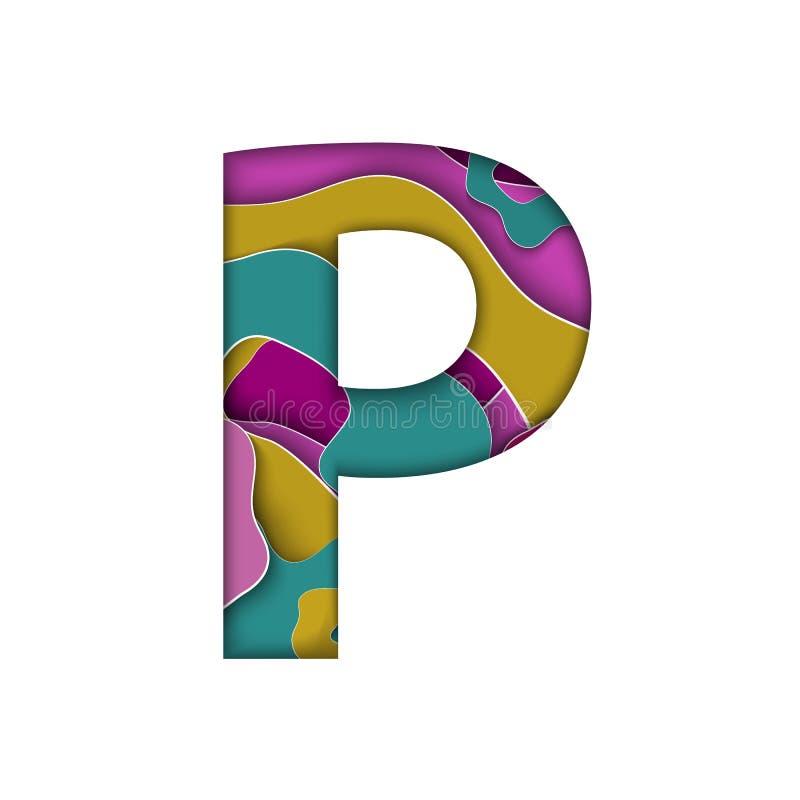 Бумага отрезала письмо p с красочными слоями на белой предпосылке Papercut, волны, конспект, дизайн, фиолет, 3D, stylization, пом иллюстрация вектора
