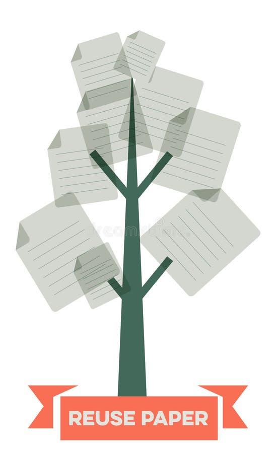 Бумага повторного пользования иллюстрация вектора