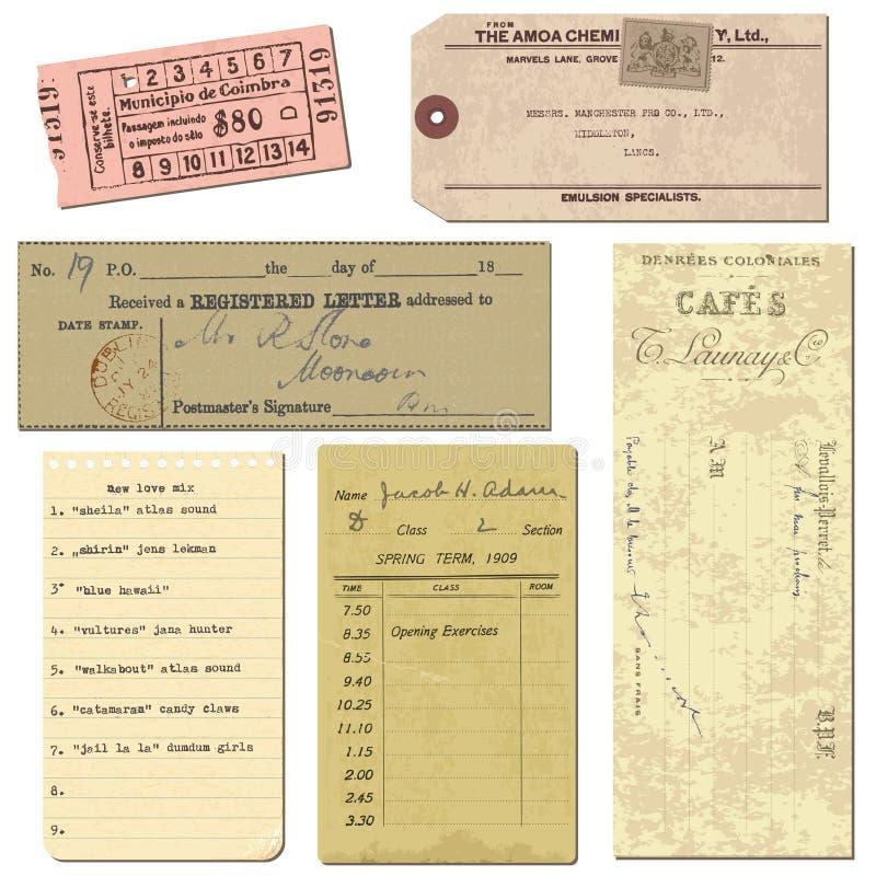 бумага предметов пем старая снабжает сбор винограда билетами иллюстрация вектора