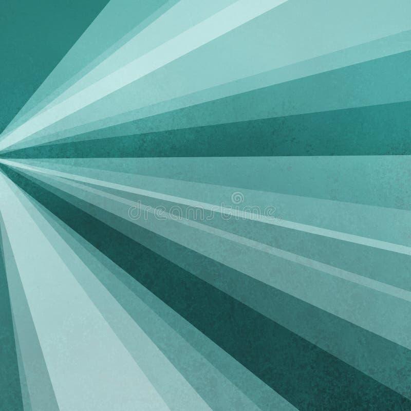 Бумага предпосылки голубого зеленого цвета с абстрактным дизайном sunburst лучей или лучи солнечности освещают в радиальных strip иллюстрация штока