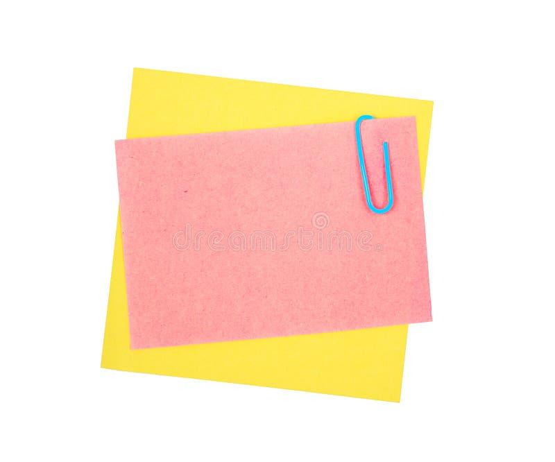 бумага примечания зажима стоковое изображение