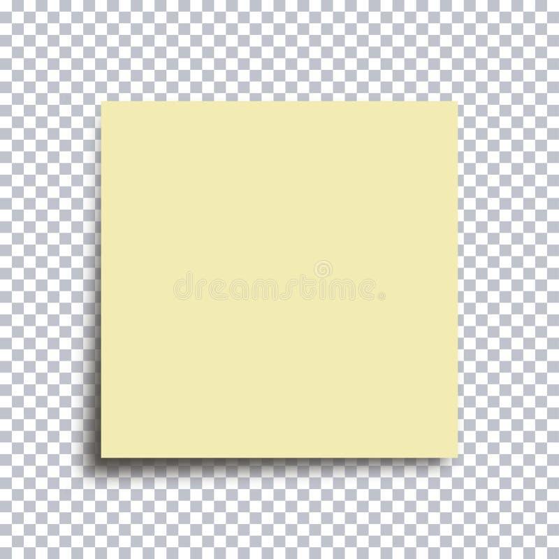 бумага примечания липкая Желтый стикер изолированный на прозрачной предпосылке вектор иллюстрация вектора