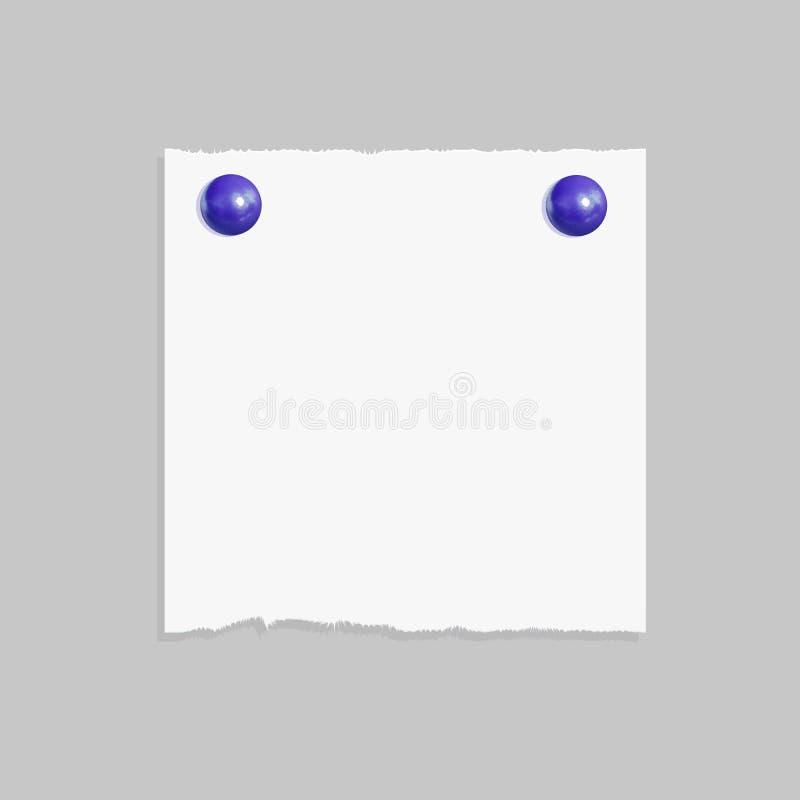 Бумага при реалистические изолированные кнопки Pin, шаблон памятки вектора модель-макета иллюстрация вектора
