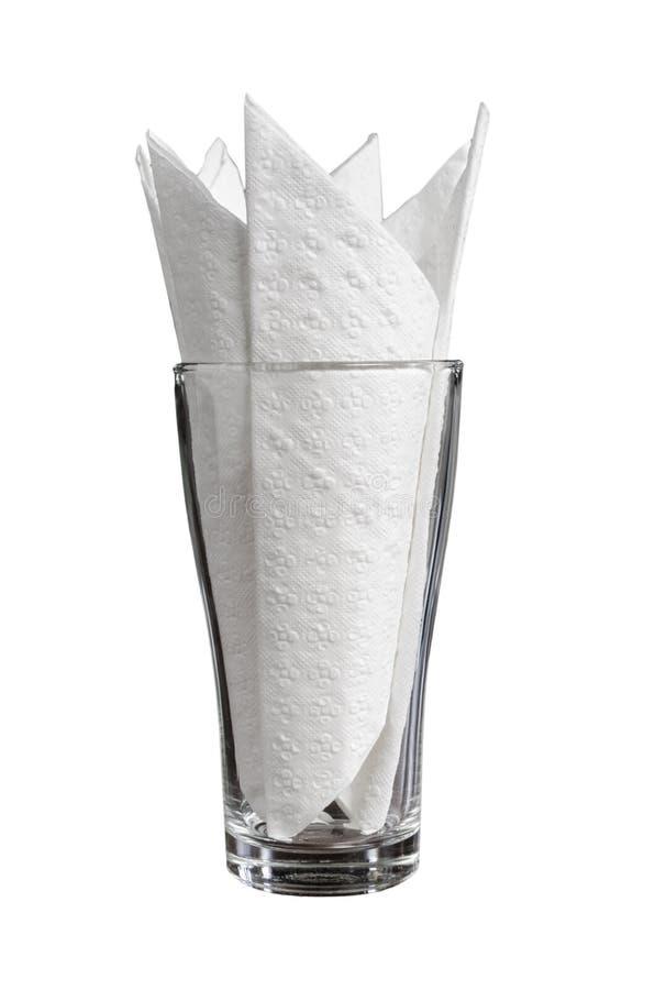 Бумага салфетки ткани ресторана в стекле стоковое фото