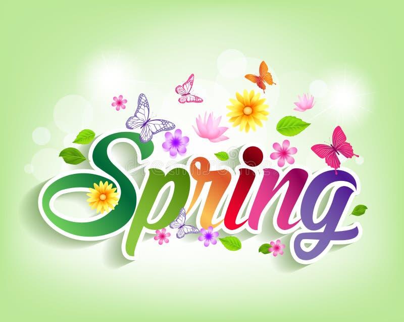 Бумага слова весны отрезанная с цветками & бабочками иллюстрация штока