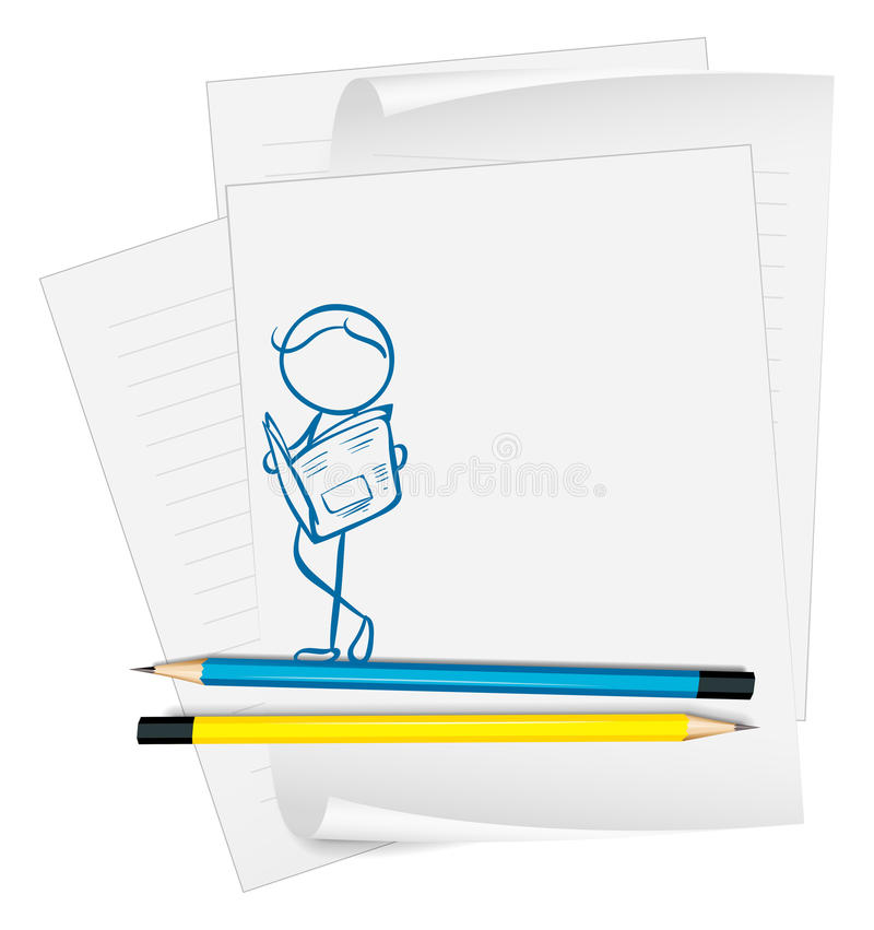 Бумага с чертежом человека читая газету иллюстрация вектора