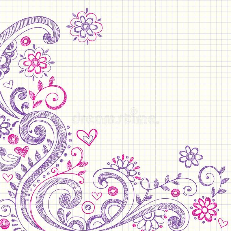 бумага тетради диаграммы doodles схематичная иллюстрация вектора