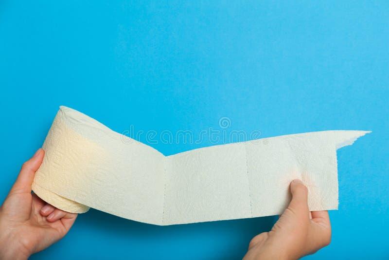 Бумага туалета белой бумаги санитарная Концепция Bathroom санитарная Космос экземпляра для космоса стоковое фото rf