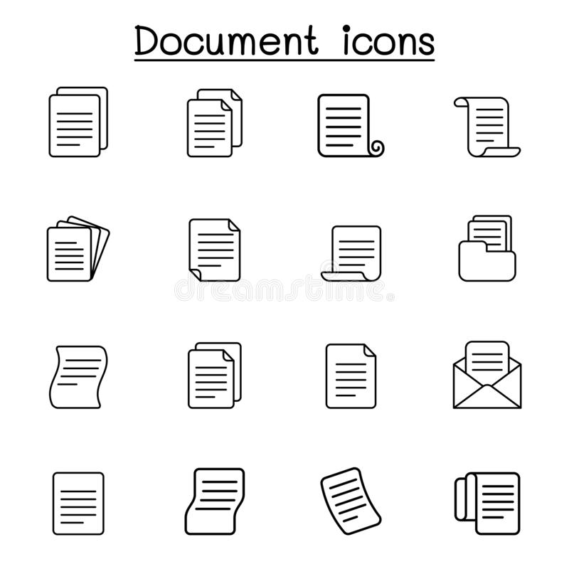 Бумага, файл, документ, папка, информация, значок данных установила в тонкую линию стиль иллюстрация штока