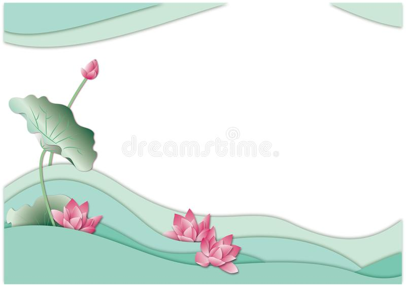 Бумага цветка лотоса лета режа предпосылку бесплатная иллюстрация
