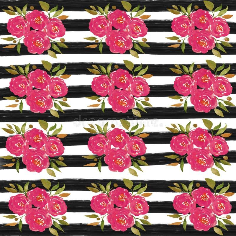 Бумага цифров цветка акварели, розовая предпосылка цветка, черные нашивки бесплатная иллюстрация