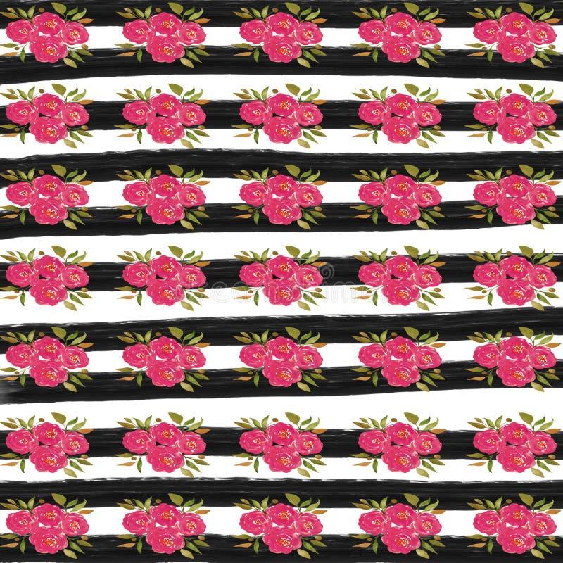 Бумага цифров цветка акварели, розовая предпосылка цветка, черные нашивки иллюстрация штока