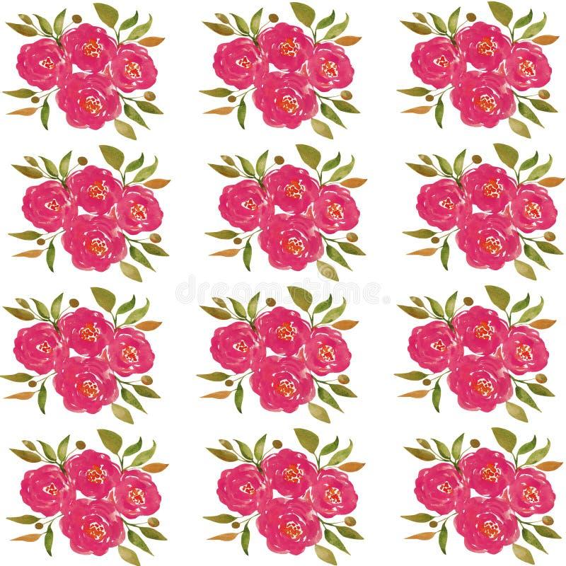 Бумага цифров цветка акварели, розовая предпосылка цветка иллюстрация вектора