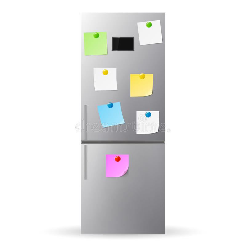 Бумага чистого листа бумаги и ручки на двери холодильника холодильник иллюстрация вектора
