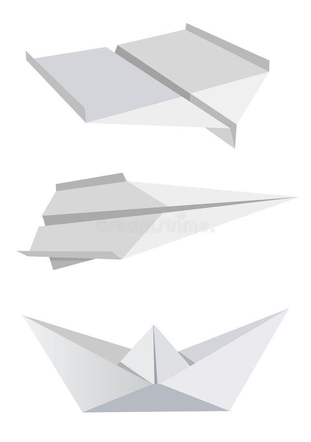 бумага шлюпки аэропланов иллюстрация вектора