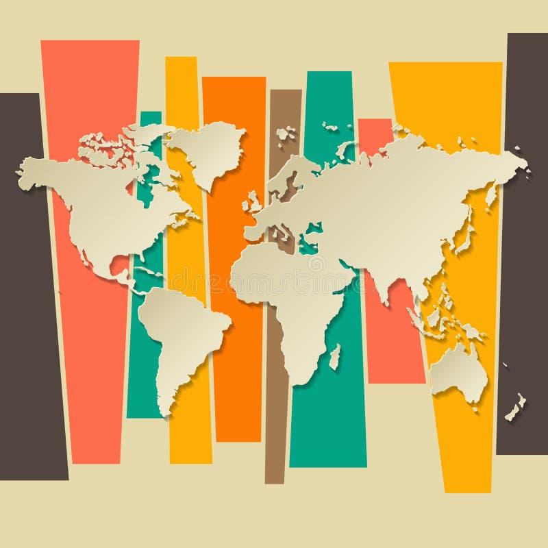 Бумага 3D карты мира вектора ретро иллюстрация штока