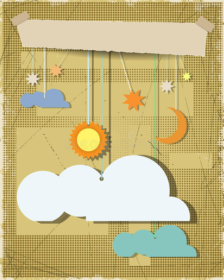 Бумага Grunge текстурировала предпосылку с солнцем, звездой, луной с белым облаком Пустой элемент дизайна облака с местом для ваш иллюстрация вектора