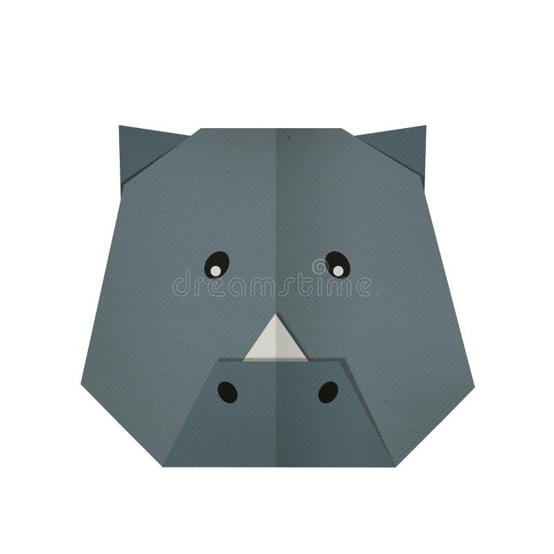 Бумага Origami носорог (сторона) стоковое фото