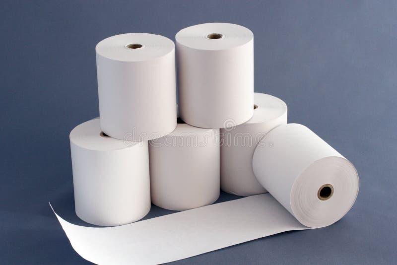 Бумага Rolls для кассового аппарата стоковое изображение