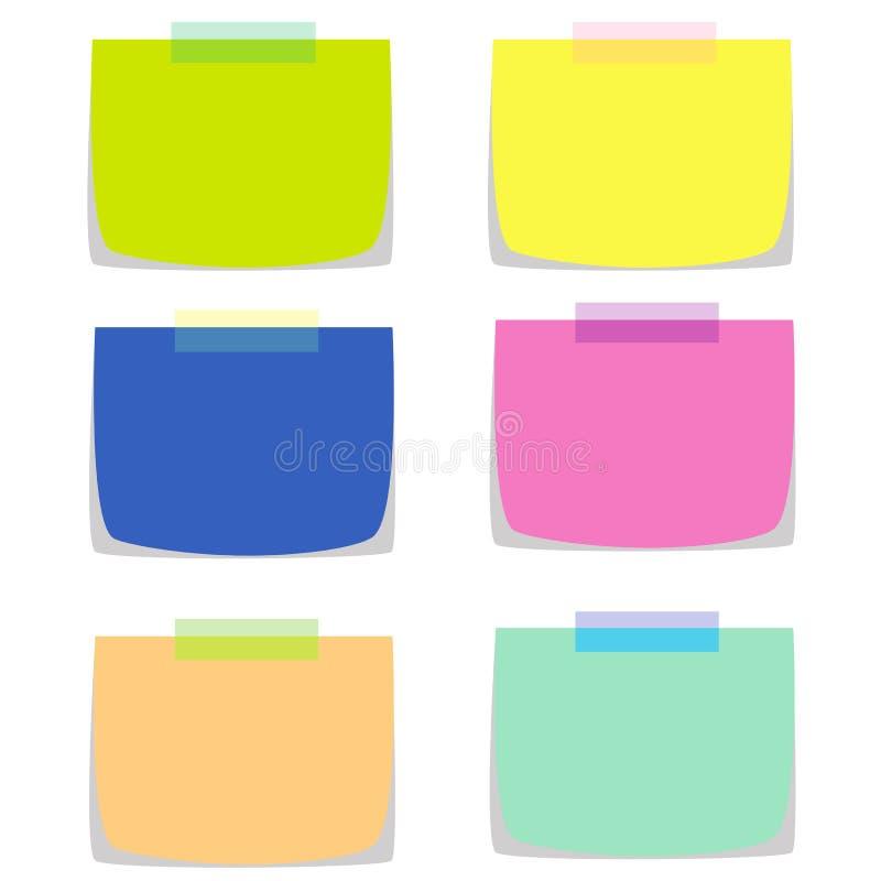 6 бумаг примечания в множественном векторе цветов иллюстрация вектора