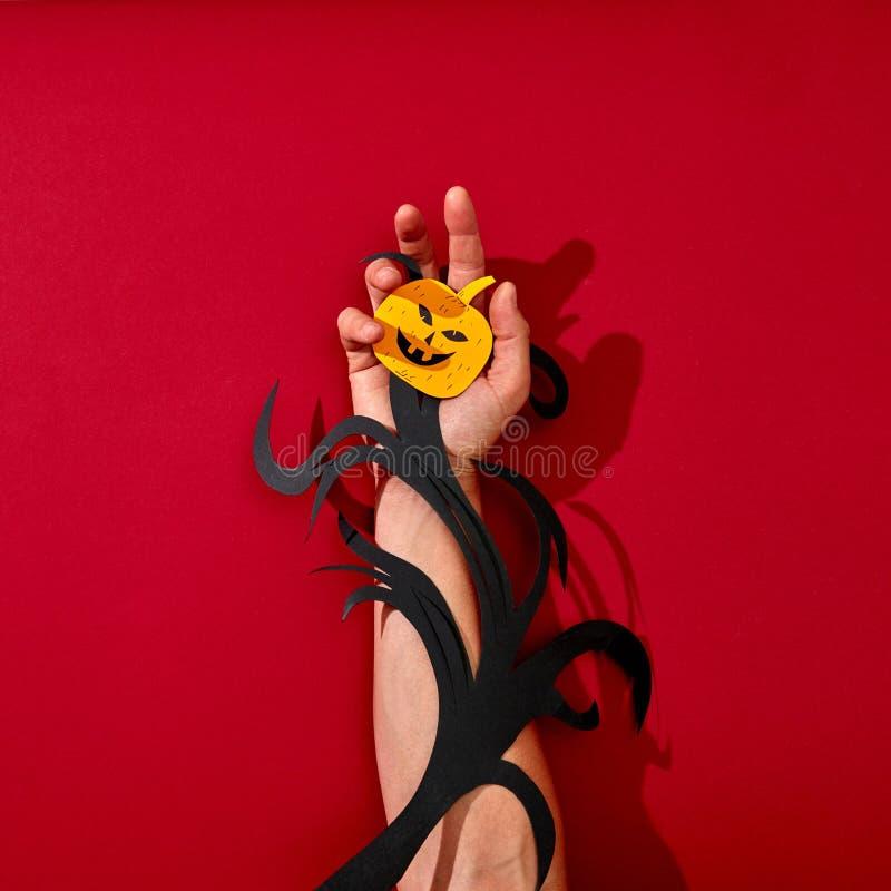 Бумажная ветвь и страшная усмехаясь тыква украсить руку человека на красивой предпосылке с отражением теней стоковые фотографии rf