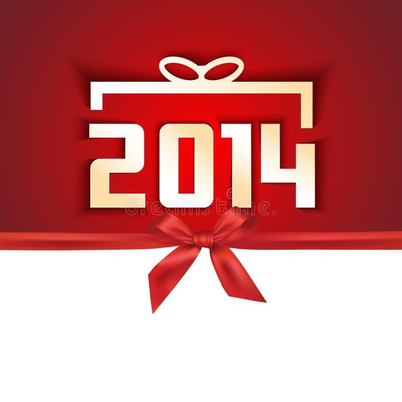 Бумажная года карточка 2014 подарка иллюстрация вектора