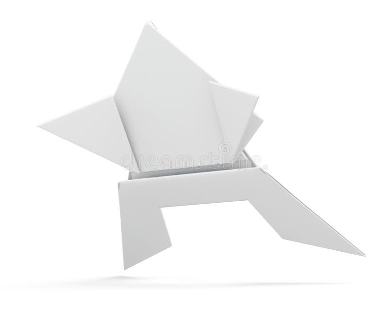 Бумажная изолированная лягушка origami перевод 3d иллюстрация вектора