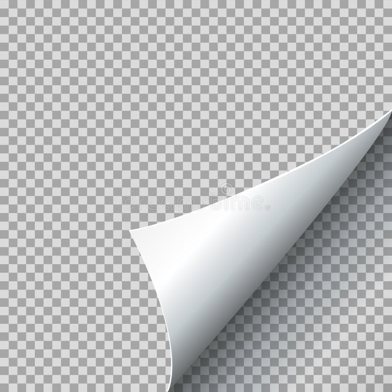 Бумажная иллюстрация вектора скручиваемости Завитый угол страницы с тенью на прозрачной предпосылке иллюстрация штока
