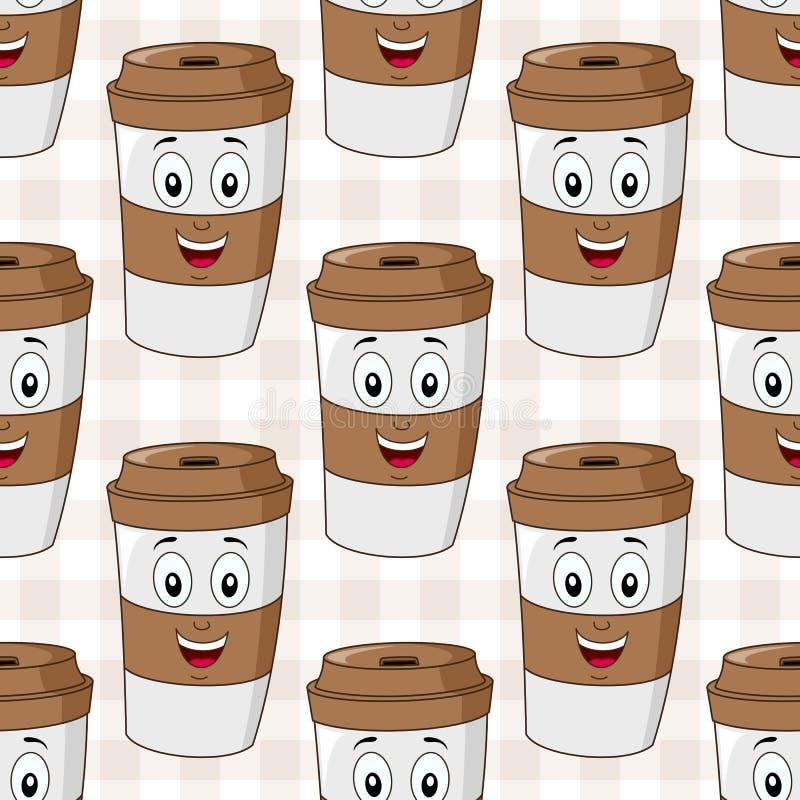 Бумажная картина кофейной чашки безшовная бесплатная иллюстрация