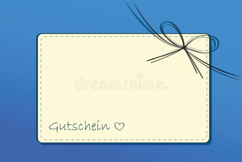 Бумажная карточка подарочного сертификата с лентами на голубой предпосылке иллюстрация вектора