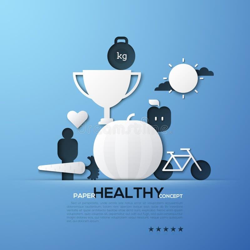 Бумажная концепция здорового образа жизни, питания, фитнеса, потери веса Белые силуэты чашки ` s победителя, велосипеда, приносит бесплатная иллюстрация