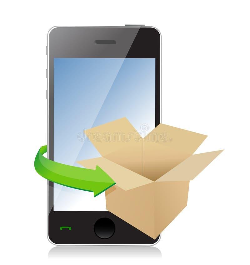 Бумажная коробка на телефоне для концепции транспорта. бесплатная иллюстрация