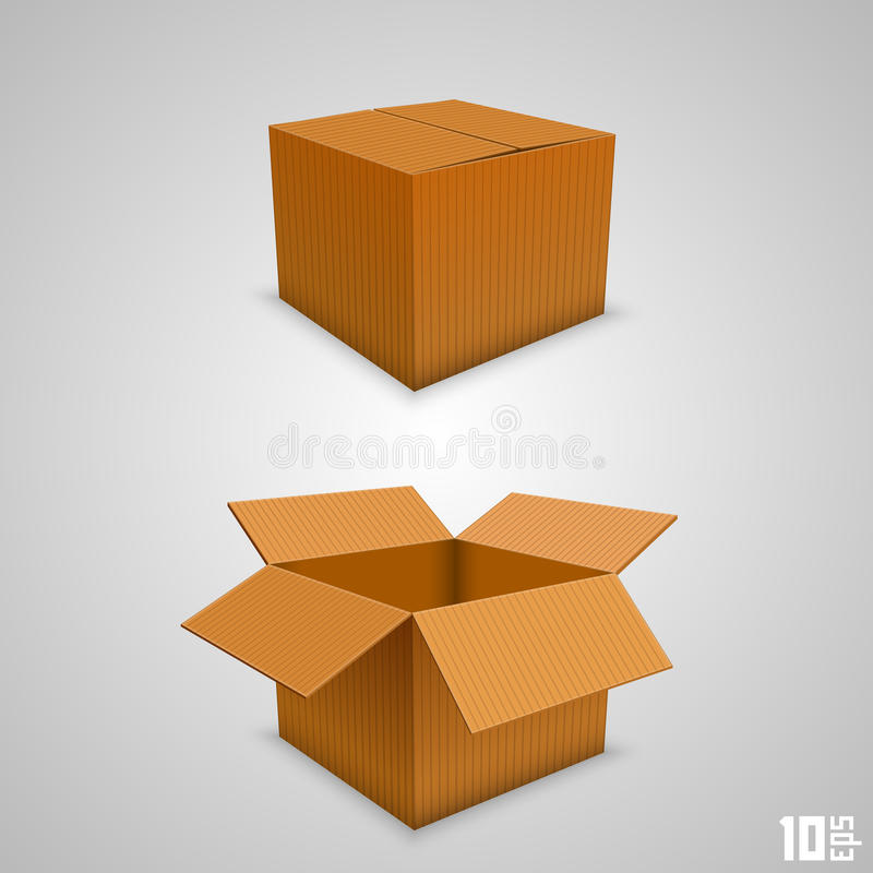 Бумажная коробка открытая и закрытая бесплатная иллюстрация