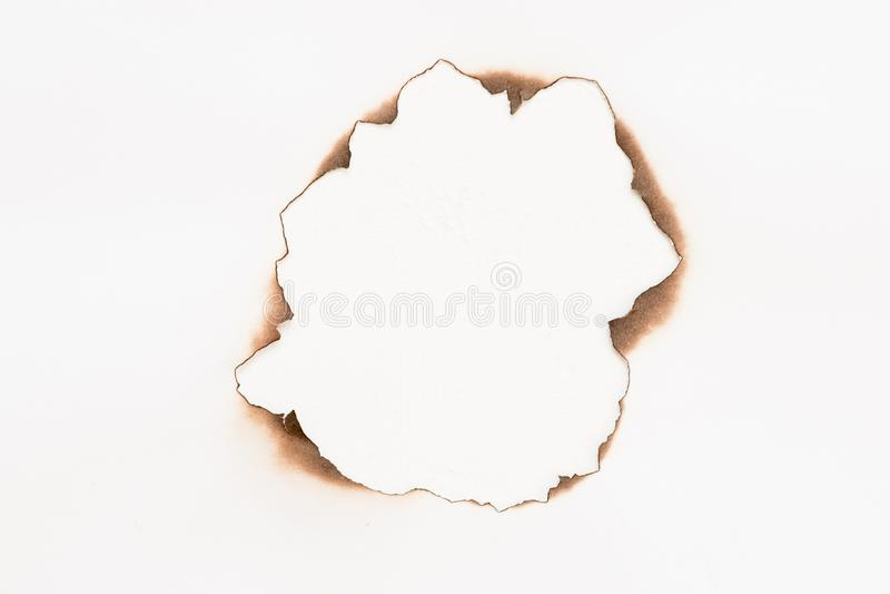 Бумажная, который сгорели рамка предпосылки отверстия белая абстрактная стоковые фотографии rf