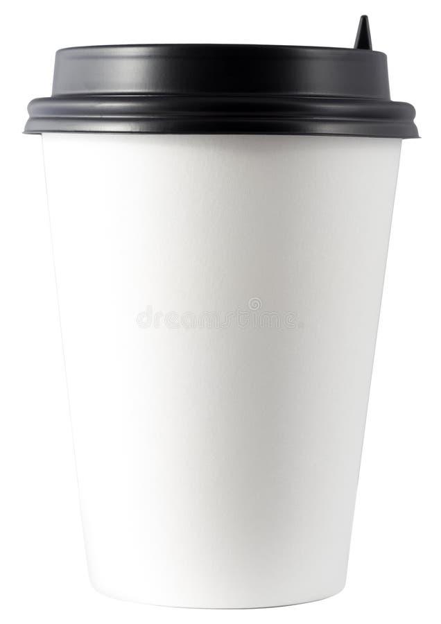 Бумажная кофейная чашка, изолированная от белого стоковые изображения