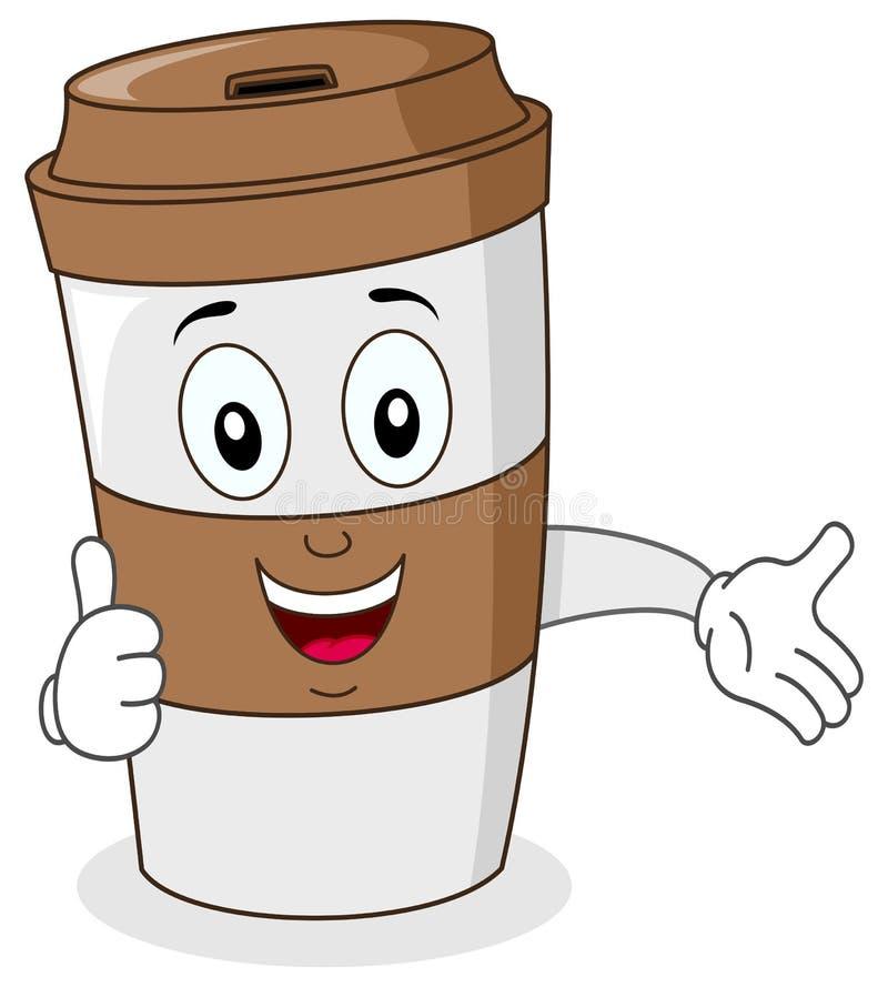 Бумажная кофейная чашка с большими пальцами руки вверх иллюстрация вектора