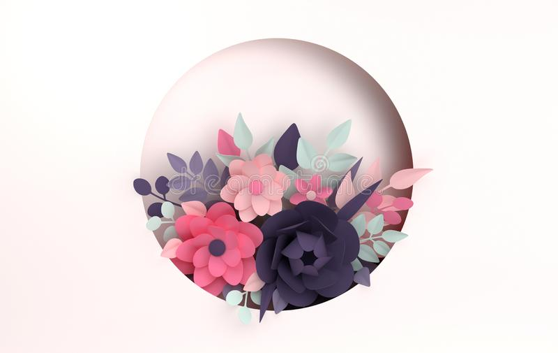 Бумажная красочная предпосылка цветков День Валентайн, пасха, День матери, поздравительная открытка свадьбы 3d представляют цифро иллюстрация вектора