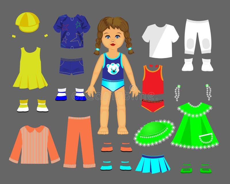 Бумажная кукла одевает и установила для игры и творческих способностей иллюстрация вектора
